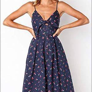 Dresses & Skirts - Tie Front V-Neck Spaghetti Midi Dress